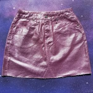 Glitter Halo Pink Jean Mini Skirt Holographic